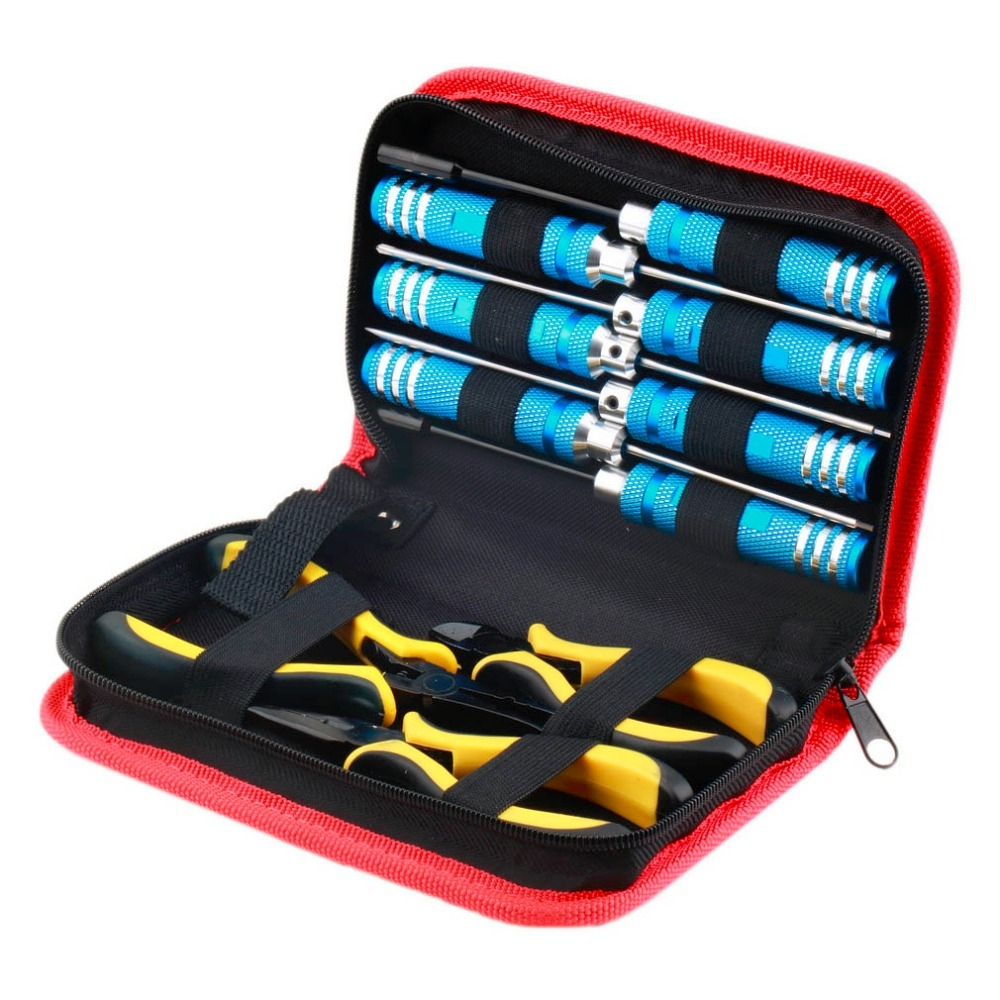10 in 1 RC Helicopter Screwdriver Pliers Hex Repair Tools Box Set with Bag