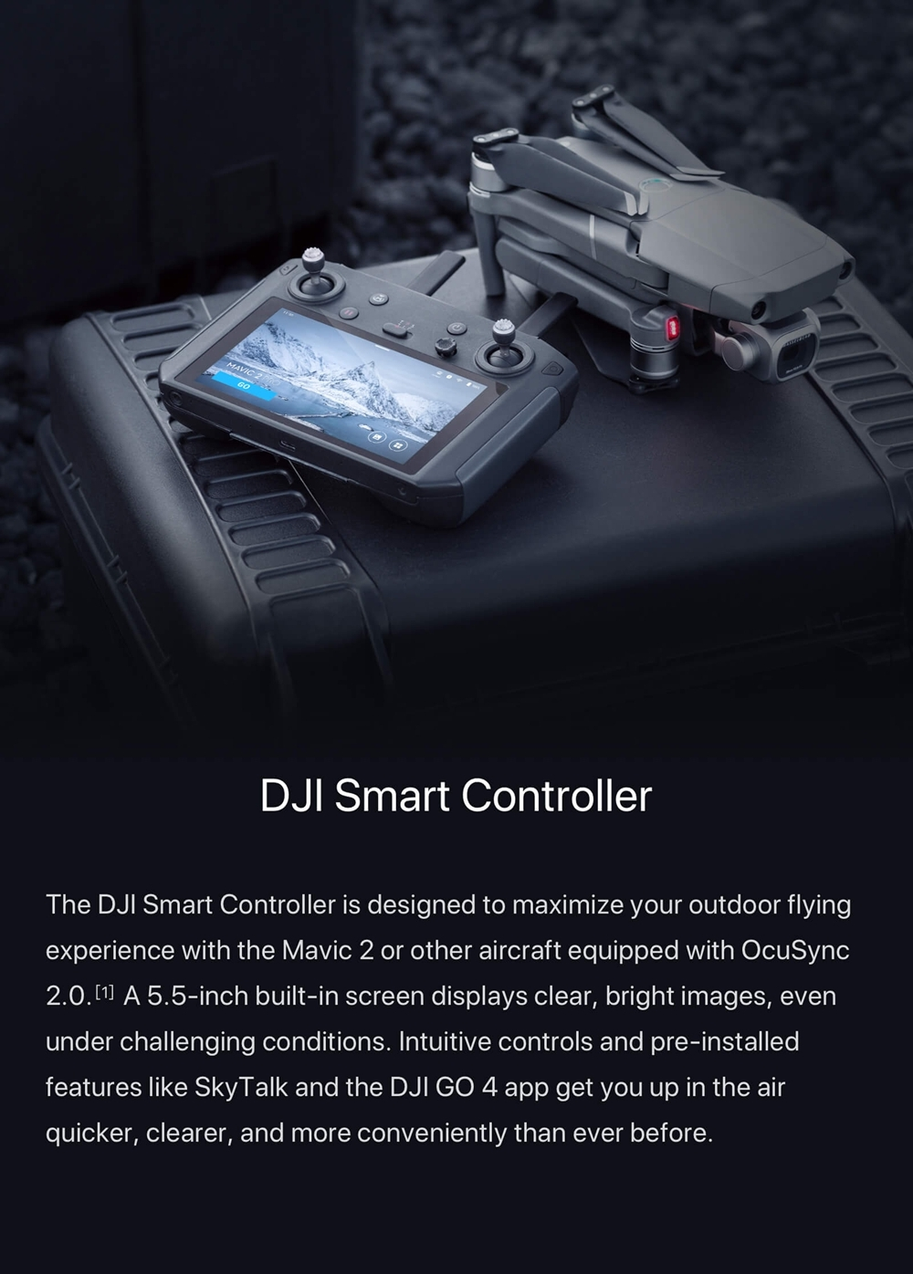 DJI Smart Controller Transmitter with 5.5-inch 1080P Screen OcuSync 2.0 Go Share SkyTalk for DJI Mavic 2 Series RC Drone