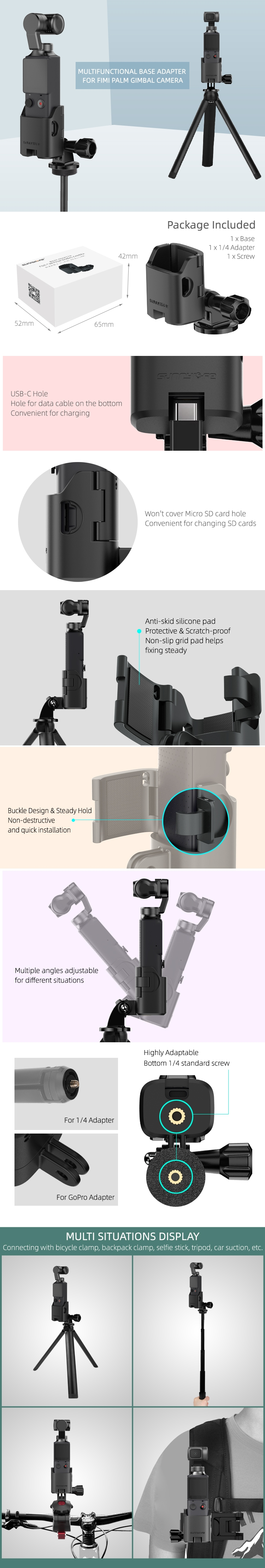 Sunnylife Base Adapter Backpack Clamp Tripod Connecting Accessories for FIMI PALM Gimbal Camera Accessories